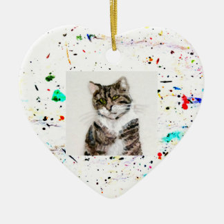 Abstract Art Paint Splashes and Spots Photo Ceramic Ornament