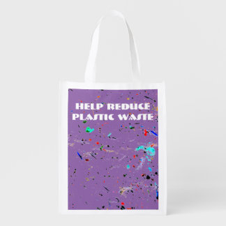 Abstract Art Paint Splashes and Spots Reusable Grocery Bag