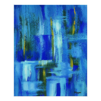 Abstract Art Painting Blue Green Gold Brushstrokes Poster