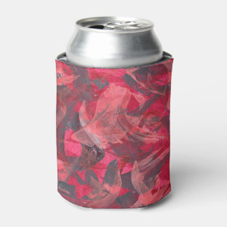 Abstract Art Painting Brushstrokes Red Copper Grey Can Cooler