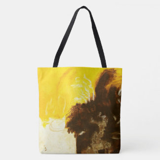 Abstract Art Painting Drips Splatters Yellow Brown Tote Bag