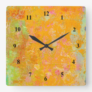 Abstract Art Painting Orange Yellow Pink Red Green Wall Clocks
