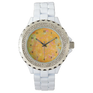 Abstract Art Painting Orange Yellow Pink Red Green Wrist Watch
