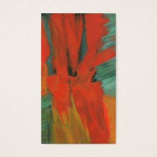 Abstract Art Painting Red Orange Green Gold Business Card