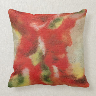 Abstract Art Painting Red Orange Yellow Texture Throw Pillow