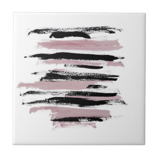 Abstract Art Pink and Black Strokes Ceramic Tile