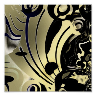 Abstract Art Poster Gold Night