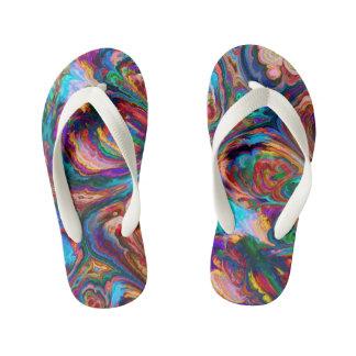 Abstract art pretty rainbow Flip flops