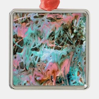 Abstract art print pattern mint and pink Silver-Colored square ornament