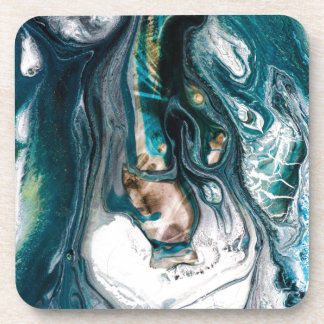 ABSTRACT ART PRINT TEAL WHITE COPPER COASTER