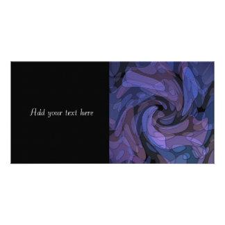 Abstract Art Purple Black Blue Modern Design Photo Card Template