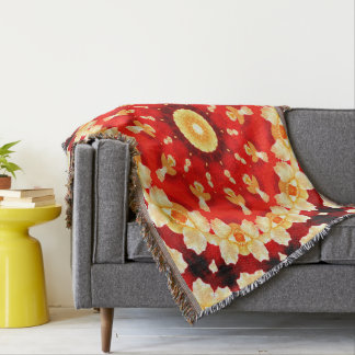 Abstract-Art-Red And Yellow Concentric Design Throw Blanket