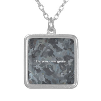 Abstract Art Rocks Painting Inspirational Silver Plated Necklace