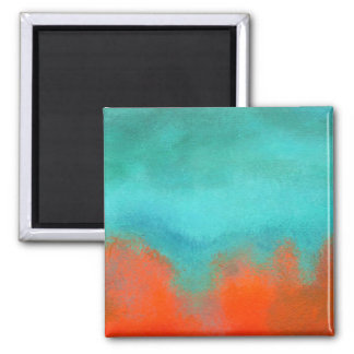 Abstract Art Sky Fire Lava Coral Turquoise Orange Magnet