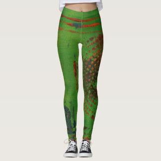 Abstract Art Spiral Leggings - Green, Gold, Teal