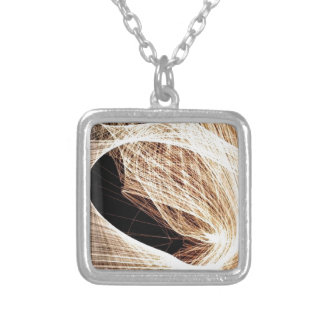 abstract art swirls - abyss silver plated necklace