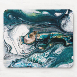 Abstract art teal turquoise  white copper mouse pad