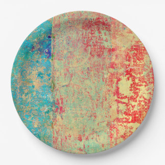 Abstract Art Texture Painting Turquoise Red Green 9 Inch Paper Plate