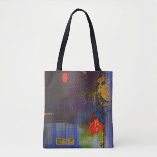 "Abstract Art Tote Bag ""Blue Ocean"""