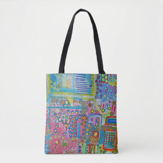 """Abstract Art Tote Bag """"Dots & Ladders"""""""