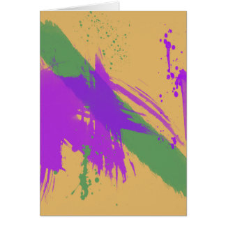 Abstract Art Watercolors Paint Purple Green Gold Card