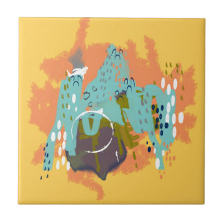 Abstract Art Whimsical Architecture Gold Mint Navy Ceramic Tile