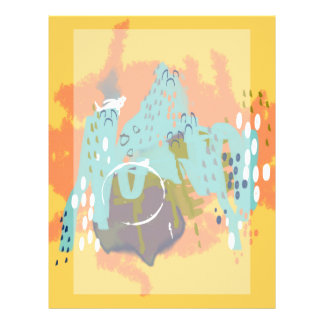 Abstract Art Whimsical Architecture Gold Mint Navy Letterhead Design