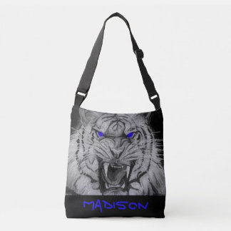 Abstract Art White Tiger Blue Glowing Eyes Bag