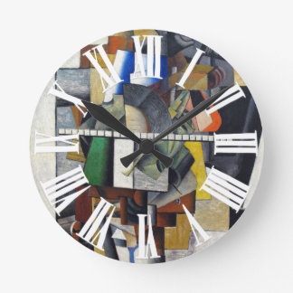 Abstract Art with Vintage Shapes Roman Numerals Round Clock
