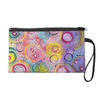 Abstract Art Wristlet, Coin and Key Purse