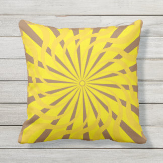 Abstract art yellow, brown colors outdoor pillow