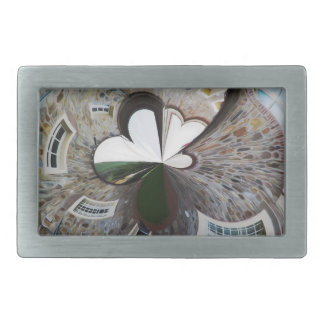 Abstract artistic background of rural house rectangular belt buckles