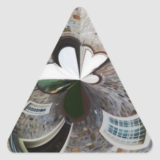 Abstract artistic background of rural house triangle sticker