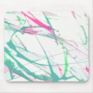 Abstract artistic pink turquoise splatters pattern mouse pad