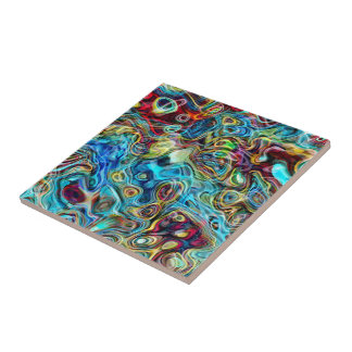 Abstract Artistic Retro Cool Waves Pattern Tile