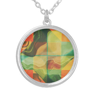 Abstract artwork silver plated necklace