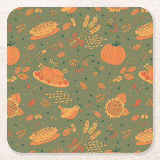 Abstract Autum Harvest Pattern Square Paper Coaster