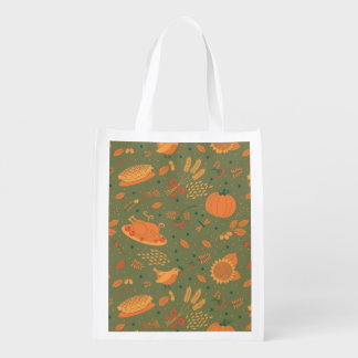 Abstract Autumn Harvest Patterns Reusable Grocery Bag
