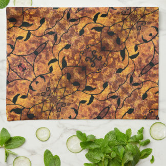 Abstract Autumn Leaf Silhouette Pattern Kitchen Towel