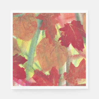 Abstract Autumn Leaves Red Brown Orange Napkins Paper Napkin