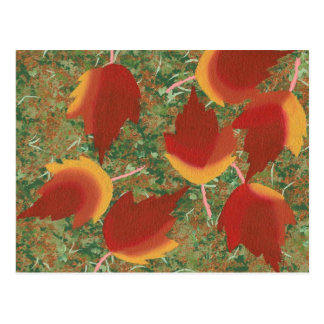 Abstract Autumn Maple Leaves on Ground Postcards