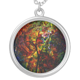 Abstract Autumn Silver Plated Necklace