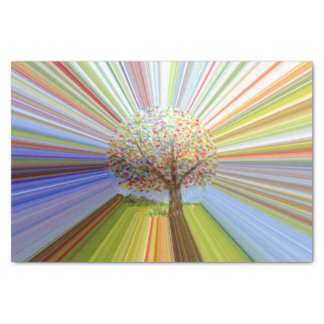 Abstract Autumn Tree Multicolored Striped Tissue Paper