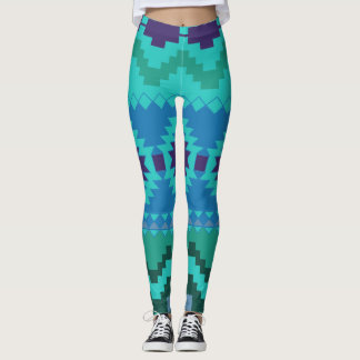 Abstract Aztec Pattern Leggings