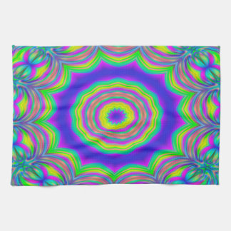 Abstract Background Blue And Green Concentric Star Kitchen Towel