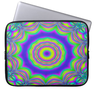 Abstract Background Blue And Green Concentric Star Laptop Sleeve
