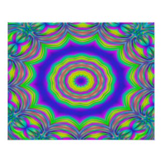 Abstract Background Blue And Green Concentric Star Poster