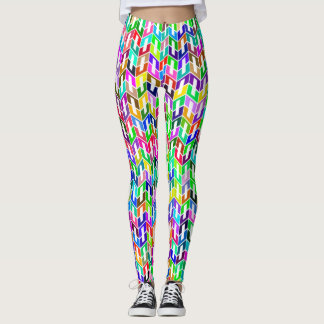 Abstract Background Colored Geometric Grid Leggings
