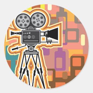 Abstract Background Movie Projector Film camera Round Sticker