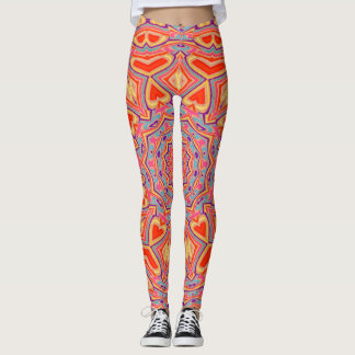 Abstract Background Multi Color Mosaic Pattern Leggings